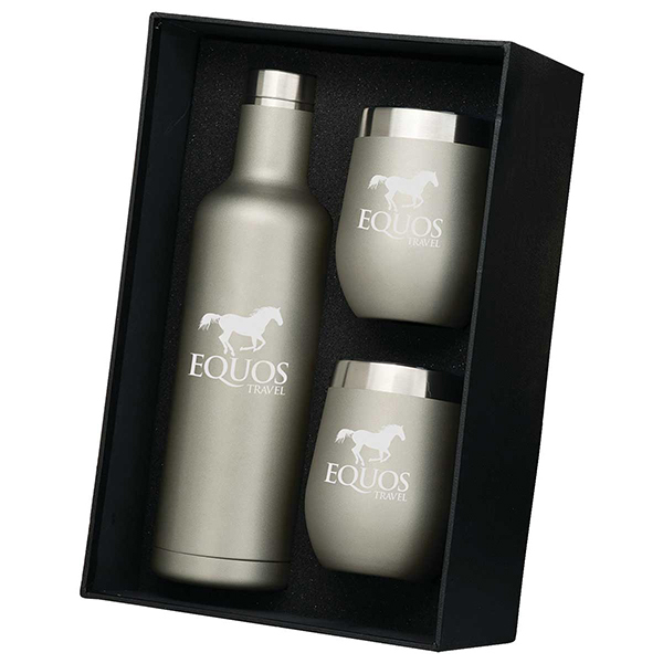 Stainless-steel wine bottle and two-tumbler gift set