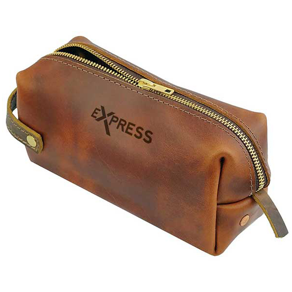 Natural-tone leather pouch