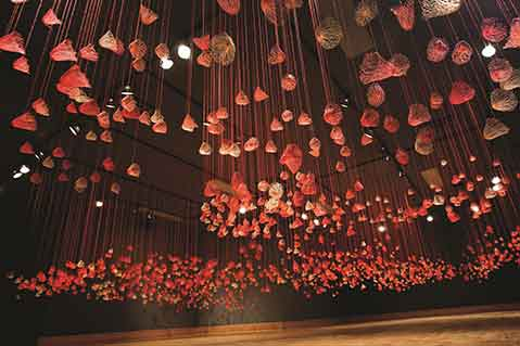 Artist Suspends Thread Art From Ceilings