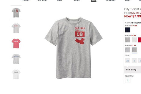 Gap Angers China With Map On Imprinted T-Shirt