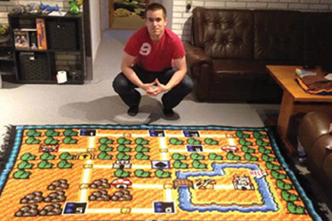 Scandinavian Man Crochets Detailed Video Game Blanket